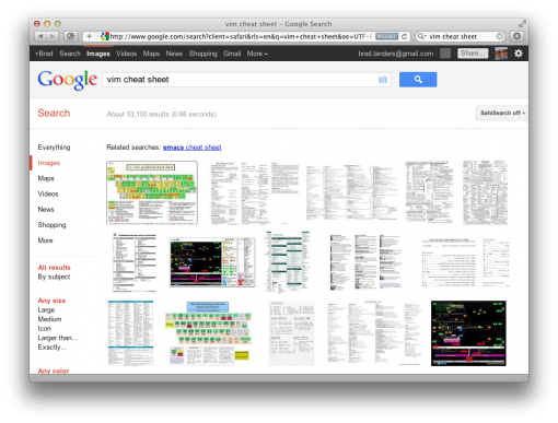 "Google search for ""vim cheat sheet"""